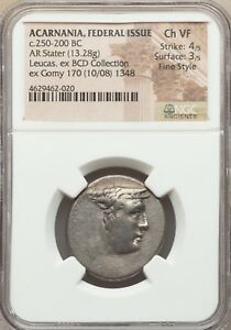 ON SALE ACARNANIA FEDERAL ISSUE AR STATER 250 200 BC UNFINISHED DIE NGC UNQUE