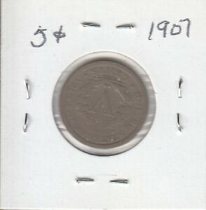 US 5 CENT COIN 1907