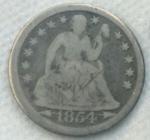 1854 P SEATED LIBERTY DESIGN ONE DIME 10C TEN CENTS 90  SILVER