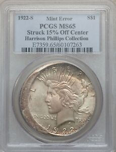 1922 S PEACE DOLLAR STRUCK 15  OFF CENTER PCGS MS 65