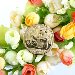 1PC GOLD PLATED BIG PANDA BABY COMMEMORATIVE COINS COLLECTION ART GIFT 2018 LU