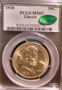 1918 LINCOLN ILLINOIS COMMEMORATIVE HALF DOLLAR PCGS MS65 CAC CERTIFIED