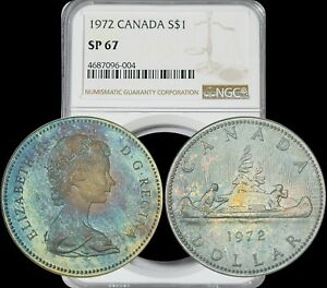 Click now to see the BUY IT NOW Price! 1972 CANADA ELIZABETH II SILVER DOLLAR NGC SP67 BEAUTIFUL LUSTER TONED GEM