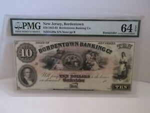 1800'S $10 THE BORDENTOWN BANKING COMPANY   NEW JERSEY OBSOLETE NOTE PMG 64 EPQ