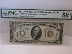 FR 2303 1934 A SERIES HAWAII WWII $10 TEN DOLLAR FEDERAL RESERVE NOTE PMG 30 EPQ