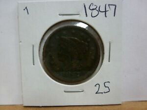 1847 DRAPED BUST LARGE CENT 7