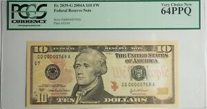 US $10 FEDERAL RESERVE NOTE  2004 A  PCGS CHOICE NEW 64PPQ LOW SERIAL 768