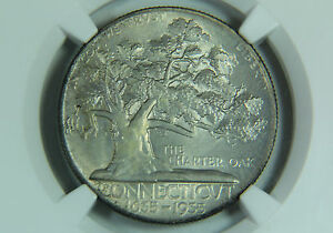 1935 CONNECTICUT HALF DOLLAR SILVER COMMEMORATIVE NGC MS 65 TONED