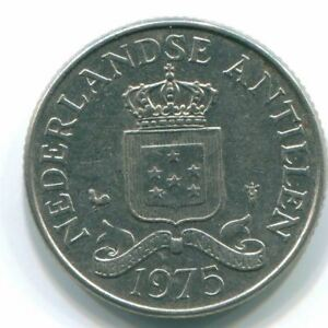 1975 NETHERLANDS ANTILLES 25 CENT NICKEL COLONIAL COIN S11605