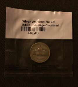 1943 S JEFFERSON WAR NICKEL SEALED IN LITTLETON COIN CO. CELLOPHANE JN43SAC01