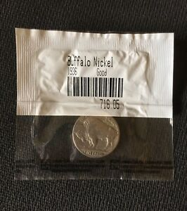 1936 5C BUFFALO NICKEL SEALED IN LITTLETON COIN CO. CELLOPHANE  GOOD  BN36G01
