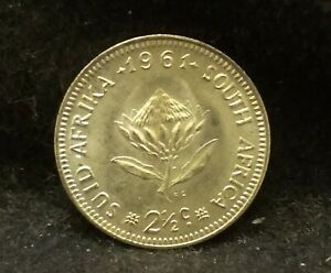 1961 SOUTH AFRICA SILVER 2 1/2 CENTS TRANSITIONAL TYPE UNC KM 58  SA6