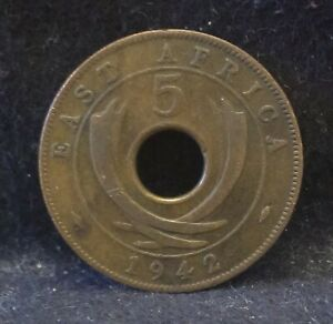 1942 BRITISH EAST AFRICA 5 CENTS GEORGE VI WAR TIME THIN FLAN KM 25.2