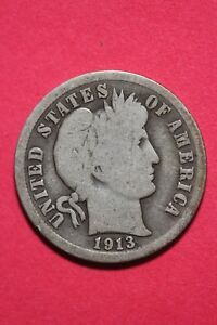 1913 P BARBER LIBERTY DIME EXACT COIN PICTURED FLAT RATE SHIPPING OCE060