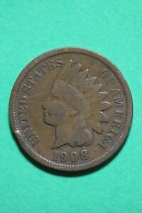 1908 INDIAN HEAD CENT PENNY BRONZE EXACT COIN PICTURED FLAT RATE SHIPPING OCE359