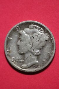 1931 D WINGED MERCURY DIME EXACT COIN SHOWN 90  SILVER FLAT RATE SHIPPING OCE175