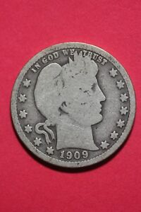 1909 P BARBER LIBERTY QUARTER EXACT COIN PICTURED FLAT RATE SHIPPING OCE283