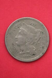 1867 THREE 3 CENT LIBERTY NICKEL EXACT COIN PICTURED FLAT RATE SHIPPING OCE0148