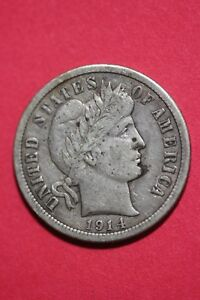 1914 P BARBER LIBERTY DIME EXACT COIN PICTURED FLAT RATE SHIPPING OCE 168