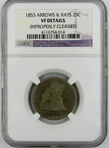 1853 ARROWS & RAYS SEATED LIBERTY QUARTER NGC VF DETAILS