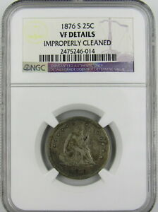 1876 S SEATED LIBERTY QUARTER NGC VF DETAILS