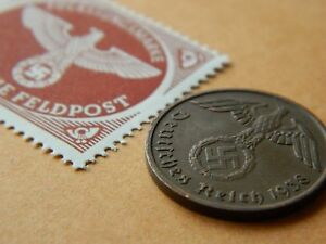 GERMANY COIN   STAMP WITH SWASTIKA   BUY 2 COINS & GET EXTRA STAMP   21