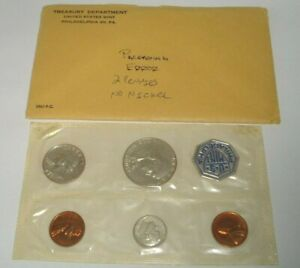 1961 P US MINT 5 COIN ERROR PROOF SET 2 PENNIES NO NICKEL W/ ORIGINAL ENVELOPE