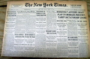 1933 NY TIMES NEWSPAPER US GOV'T MAKES GOLD COIN POSSESSION ILLEGAL NUMISMATICS