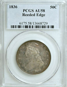 Click now to see the BUY IT NOW Price! 1836 REEDED EDGE PCGS AU58 1 200 MINTED  LEGENDARY KEY BUST HALF DOLLAR 50C