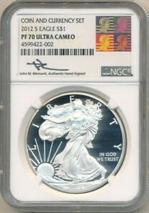 2012 S PROOF AMERICAN SILVER EAGLE NGC PF70 UC JOHN M MERCANTI SIGNED  FREE S/H