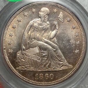 1860 O SEATED LIBERTY DOLLAR ORIGINAL UNCIRCULATED PCGS MS 62 OLD HOLDER