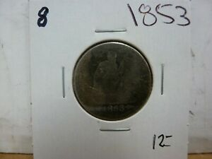 1853 SEATED LIBERTY SILVER QUARTER DOLLAR 8