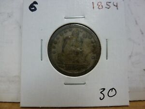 1854 SEATED LIBERTY SILVER QUARTER DOLLAR   6
