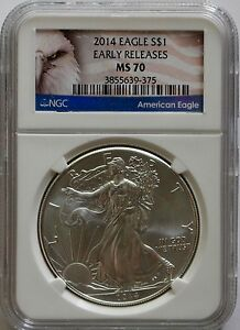 2014 AMERICAN EAGLE 1 OZ SILVER NGC MS70 EAGLE EARLY RELEASE