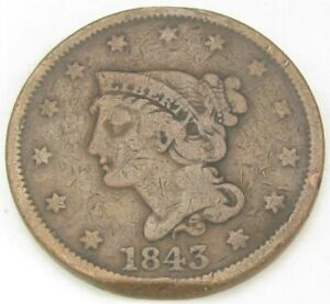 TWO LARGE CENTS 1843 1844 GOOD AND GOOD 164