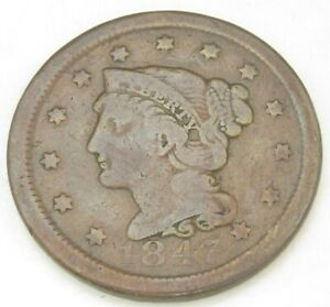 TWO LARGE CENTS 1847 1848 GOOD 165