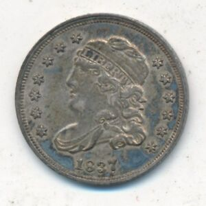 1837 CAPPED BUST SILVER HALF DIME LARGE 5 AWESOME GENTLY CIRCULATED SHIPS FREE