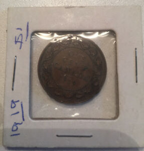 CANADA 1919 ONE 1 CENT CANADIAN KING GEORGE V PENNY COIN