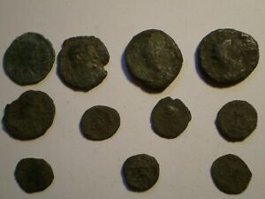 GENUINE LOT OF 11 ANCIENT UNKNOWN ROMAN COINS CLEANED CONDITION LOT