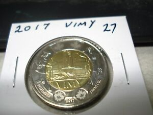 2017   VIMY   CANADA TWO DOLLAR   BRILLIANT UNCIRCULATED   CANADIAN $2 COIN
