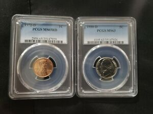 1972 D LINCOLN MEMORIAL CENT PCGS MS 65 RD AND 1980 D MS 63 NICKEL