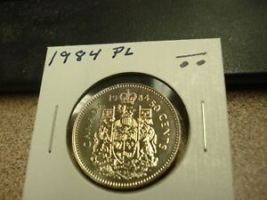 PROOF LIKE   1984   BRILLIANT UNCIRCULATED   CANADA HALF   CANADIAN 50 CENT