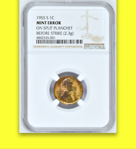 Click now to see the BUY IT NOW Price! 1955 S NGC MS60  STRUCK ON SPLIT PLANCHET  UNIQUE EPIC LINCOLN WHEAT CENT 1C