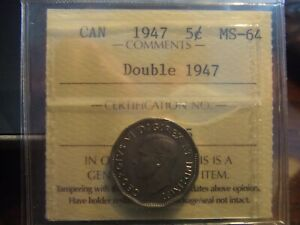 Click now to see the BUY IT NOW Price! VERY  CANADA 5 CENTS 1947 STRONG DOUBLE DATE   ICCS MS 64