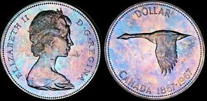 Click now to see the BUY IT NOW Price! 1967 CANADA ELIZABETH II SILVER $1 DOLLAR PROOF LIKE TONED GOOSE HIGH GRADE