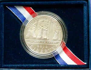 2010  AMERICAN  VETERANS DISABLED FOR LIFE COMMEMORATIVE SILVER DOLLAR W/ BOX