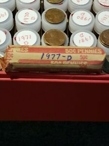 LINCOLN PENNY ROLL   CIRCULATED       1977 D LOT OF 50 CENTS
