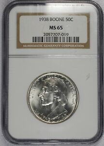 1938 BOONE COMMEMORATIVE HALF DOLLAR   NGC MS65