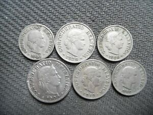 WORLD COINS. OLD SWISS. 1900 1929.  6X. LOT B002