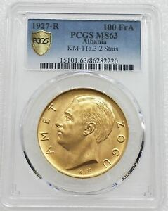 Click now to see the BUY IT NOW Price!  ALBANIA 1927 R 100 FRANGA ARI GOLD COIN PCGS MS63